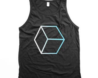 Honeycomb tank top - Geometric - minimal - op art - optical illusion - Black tank top - UNISEX - Small, Medium, Large, XL, 2XL