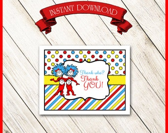 Thing 1 and Thing 2 Thank You Card / Two Girls / Dr. Seuss / Invitation, Cupcake Wrappers & Party Banner Available / DIY PRINTABLE / Twins