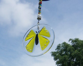 Yellow Butterfly // Fused Glass Suncatcher //  Ornament // Round // Small // Summer // Cheerful // Get Well // Bright // Colorful // Fun