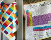 Periodic Table Modern Baby Quilt, Coin Stacked Quilt, Nursery Bedding, Crib Quilt, Baby Girl, Baby Boy, Science Baby Quilt, Handmade Quilt