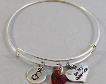 Be My Valentine,Valentines Bracelet,Bangle Bracelet,Heart Bracelet,Valentines Bangle Bracelet.Red Heart,Silver Bracelet,Personalize valleygi