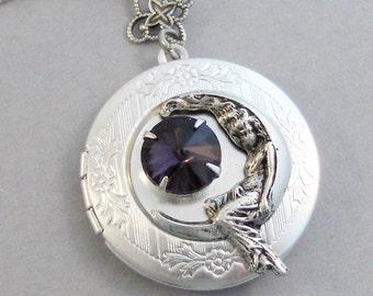 Amethyst Goddess,Amethyst Jewlery,Goddess Necklace,Goddess,Silver Locket,Moon Goddess,Vintage Rhinestone,Amethyst BirthstoneValleygirldsigns