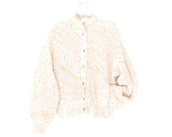 Chunky Cardigan Sweater * Vintage 80s Sweater Jacket * Oversized Cardi * Large