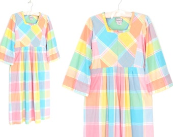 Vintage Kaftan Dress * Pastel Plaid Dress * Bohemian Tent Dress * Medium - Large