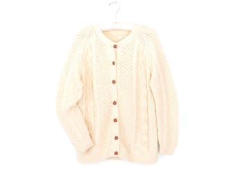 Cable Knit Sweater * Vintage Cardigan Sweater * Fisherman's Cardi * Medium