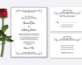 Wedding Invitations - Traditional Classic Design with Flourishes - Deposit