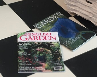 Miniature Garden Magazines, Gardening Magazines, Dollhouse Miniatures, 1:12 Scale, Set of 2, Dollhouse Accessories, Mini Magazines