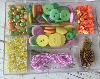 """Embellishment Kit, Mixed Buttons, Beads, Twine, Charms, Sequins, Case & More, """"Tropical Twist"""" #LL108 by Buttons Galore, Sewing, Crafts"""