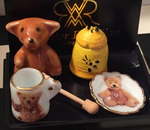 Miniature Honey Bear Breakfast Set by Reutter, Porcelain Bear, Dishes, Mug, Dollhouse Miniatures, 1:12 Scale, Dollhouse Decor, Accessories