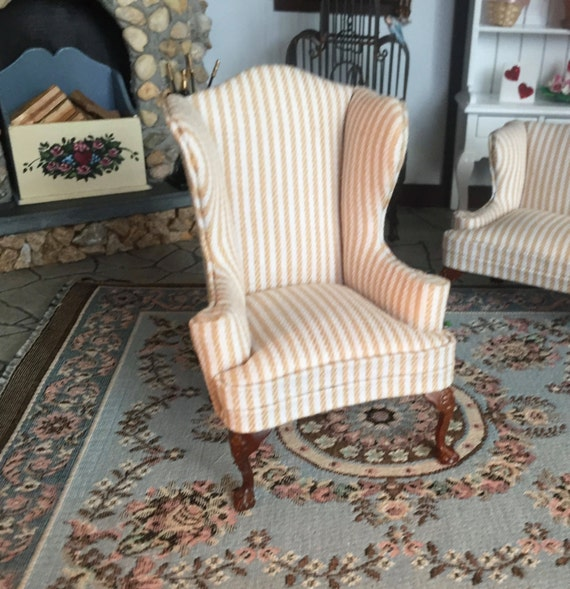Miniature Wing Back Chair, Queen Anne Style, Stripe Fabric, Walnut Legs, Platinum Collection,#6139,Dollhouse Miniature Furniture, 1:12 Scale