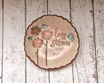 Love You Mom Daisy Flower Butterfly Garden Jewelry Holder Ring Dish Personalized Gift For Her, Rustic Aged Metallic Copper & Cream Patina