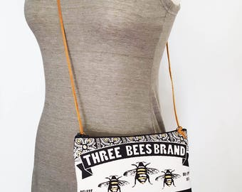 Honey Bee Cross Body Bag Zipper Pouch Cotton Makeup Cosmetic Summer Accessories Gift for Women Made in Nashville Tennessee Wholesale