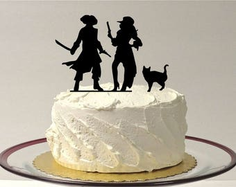 MADE In USA, Pirate Wedding Cake Topper with Cat, Fun Pirates Wedding Cake Topper, Silhouette Pirate Wedding Cake Topper Pirates