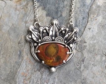 Morgan Hill Poppy Jasper and Fine Silver Necklace. Designer Cabochon Jewelry for Charity. NC33