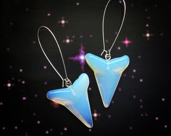 SALE Opalite Megalodon Shark tooth earrings, ear weights, 8-10g each, sold per pair