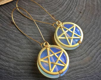 Pentacle Earrings, Opalite Ear weights