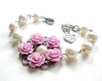 Pearl Wedding Jewelry Lavender Bracelet Flower Girl Bracelet Lavender Wedding Jewelry Rose Flower Bracelet Flower Girl Gift Rose Bracelet
