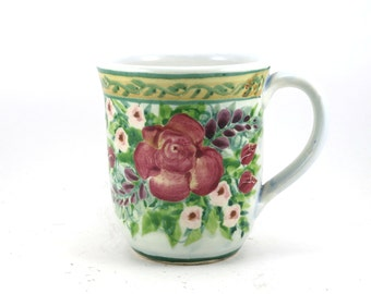 Unique Coffee Mug - Blue Porcelain Tea Cup - Large Red Rose Design - Handmade and Hand Painted