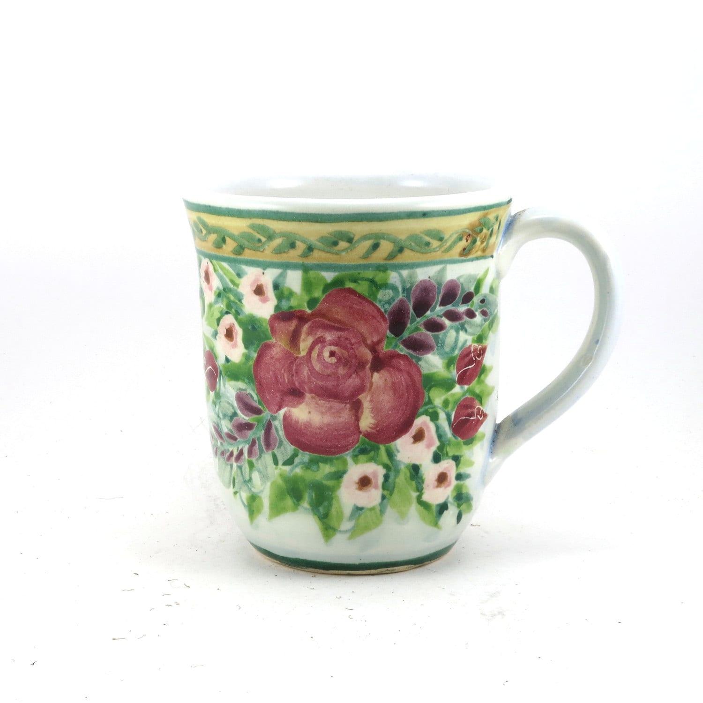 Unique Coffee Mug Blue Porcelain Tea Cup Large Red Rose