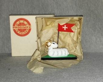 Easter Lamb, Vintage, Poland, Wood, MIB, NL