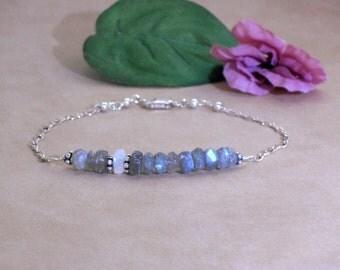 Bracelet Labradorite Rainbow Moonstone Sterling Silver Stacking Bracelet, Stone Layering Bracelet, Row Bracelet, Bar Bracelet