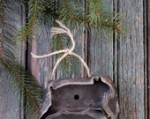 Antique Tin Cookie Cutter.  Rustic Woodland Farmhouse Tree Ornament. Country Farm Girl Baking Collectible gift. Antique Primitive Rabbit