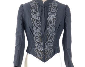Victorian Jacket, Steampunk Jacket, Antique Bodice, 1880s Black Beaded Jacket, Small