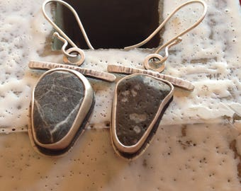 Unique Beach Stone earrings on sterling silver ear wires