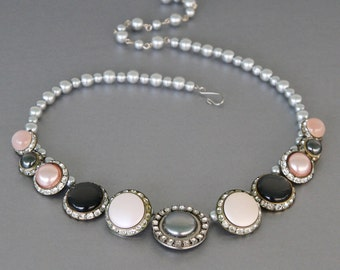 Classic and Classy. Statement Necklace from Vintage Rhinestone and Pearl Earrings
