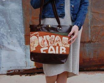 Puyallup Washington Fair Vintage Pennant Espresso Leather Standard Travel Tote