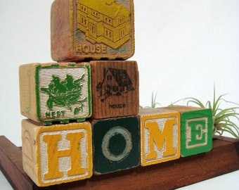 HOME 7 Old Alphabet Blocks Green Yellow Wood ABC Housewarming House Vintage