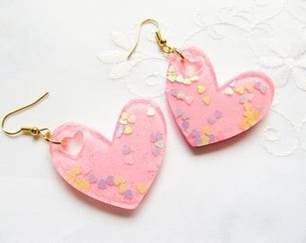 Big Pink Heart Earrings / Heart Earrings / Big Heart / Kawaii / Glitter / Cute / PInk / Earrings