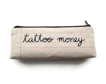 Tattoo Money Bag - Zipper Pouch - Pencil Case - Makeup Bag - Tattoo Lover's Gift - Tattoo Flash Fabric Lining - Your Choice of Fabrics