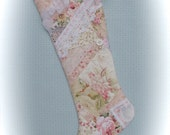 Christmas Stocking Quilted Pink Patchwork Shabby Chic Baby Girl 1st Christmas