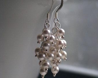 Long White Swarovski Crystal Pearl Cluster Earrings in Sterling Silver