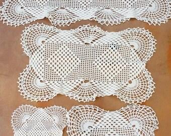 Vintage Crochet Lace Doilies /Retro /Shabby Chic/ Bohemian/Craft Supply