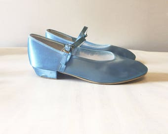 Blue satin shoes, dance shoes, bridal shoes, baby blue shoes, wedding shoes, vintage shoes, t bar shoes, vintage mary janes, buckle shoes