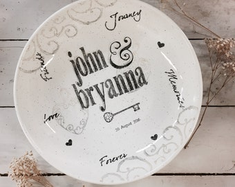 2008nan-w Personalized Wedding Pottery Couple's Name Bowl, Ceramic Bowl Personalized w/Couple's Names, Hand Painted, Bride & Bridal Shower
