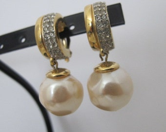 Vintage GIVENCHY Rhinestone and Faux Pearl Drop Earrings FREE SHIPPING