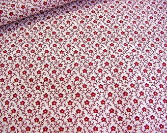 Small Print Cotton Quilt Fabric -Little Red Floral Lattice on White -Small Tiny Floral OOP Timeless Treasures -Great for Doll Clothes