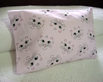 Whimsical Kitty Cat Faces Li'L Flannel Travel Toddler Pillowcase -Pink Lumbar Pillow Cover for 12 x 16 Pillow