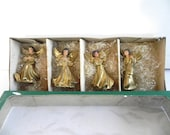 Vintage 1940s Angel Christmas Ornaments - Italian Hand Painted Golden Angels in Original Box and cellophane Grass