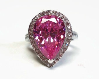 Cubic Zirconia Diamond & Pink Sapphire Cocktail Ring with Pear Shaped Prong Set Stone in S925 Silver - Vintage 80's Sterling Fine Jewelry