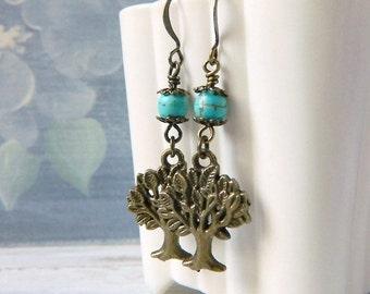 Bohemian Weeping Willow Family Tree Earrings Turquoise Earrings Tree of Life Boho Botanical Brass Dangle Earrings Birthstone Gift Mom Wife