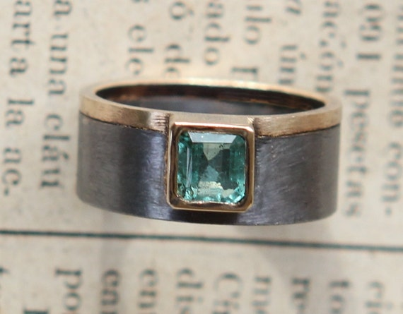 Natural Medium Green .80ct Columbian Emerald Asymmetrical Oxidized Sterling Silver And 18K Gold Ring SZ 7
