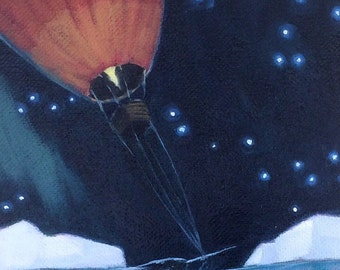 Narwhale, Hot Air Balloon, Oil Painting, Whale Art, Arctic, Stars, Northern Lights, Narwhal, nautical decor, nursery decor, ocean art, sea