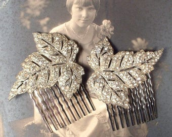 AUTHENTIC 1920s Hair Comb PAIR Art Deco Rhinestone Silver Leaf Antique Bridal Head Piece,Vintage Dress Clip Haircomb Flapper Jewelry Downton