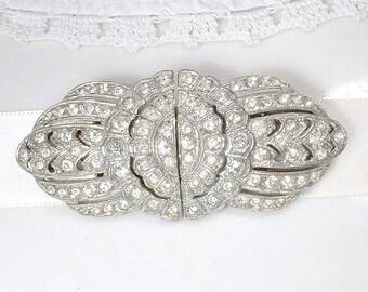 OOAK Antique Wedding Dress Sash Brooch OR Hair Comb, Vintage Rhinestone Duette Clips Gatsby Art Deco Bridal Hairpiece Edwardian 1920s 1930s