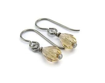 Niobium Earrings Light Colorado Topaz Teardrop Swarovski Crystal Sensitive Ear Earrings, Light Honey Amber Swarovski Drops Titanium Earrings