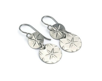 Niobium Double Disc Earrings, Stars Patterned Niobium Disc Titanium Earrings, Embossed Disk Earrings for Sensitive Ears, No Nickel Jewelry